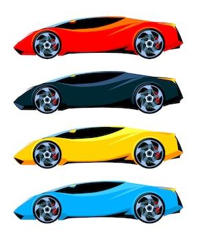 Set van sportwagens zijaanzicht verschillende kleuren