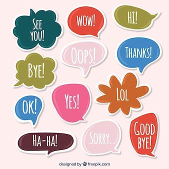 Set van spraakbellen stickers met woorden