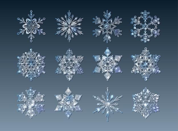 Set van sprankelende transparante ijskristallen sneeuwvlokken