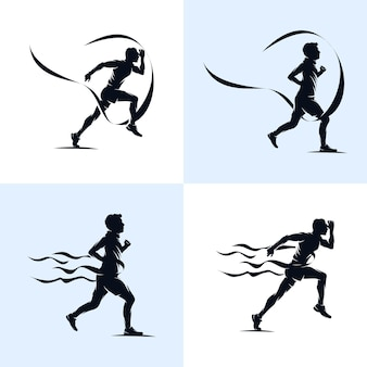 Set van sprint running atletiek marathon logo ontwerpsjabloon