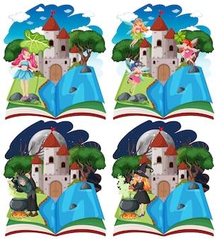 Set van sprookjes en kasteeltoren op pop-up boek cartoon stijl op witte achtergrond