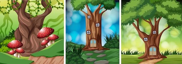 Set van sprookjesachtige boomhut
