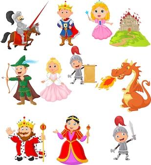 Set van sprookjesachtige middeleeuwse karakter