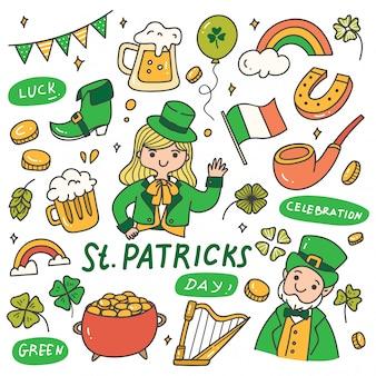 Set van st patrick day doodles