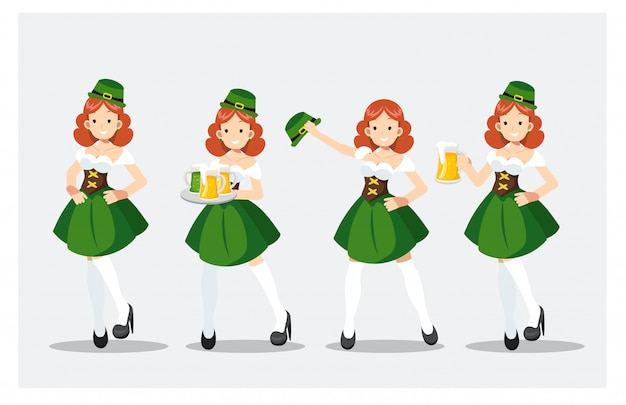 Set van st patrick's day girl in groen kostuum