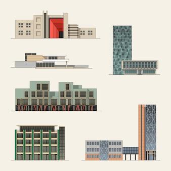 Set van stad gebouw