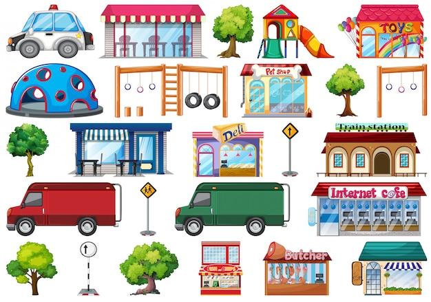 Set van stad objecten