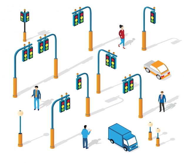 Set van stads isometrische verkeer