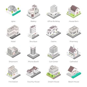 Set van stadsarchitecturen isometrische pictogrammen