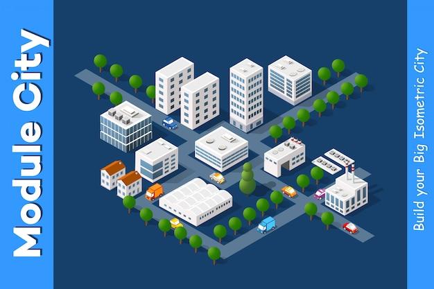 Set van stadsdistrict van de stad
