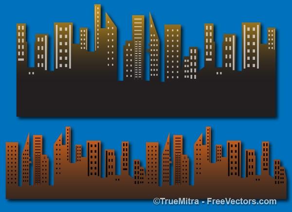 Set van stadsgebouwen achtergrond