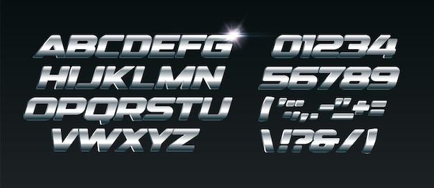 Set van stalen letters lettertype voor dynamische composities zoals sportevenementen en promoties of logo's