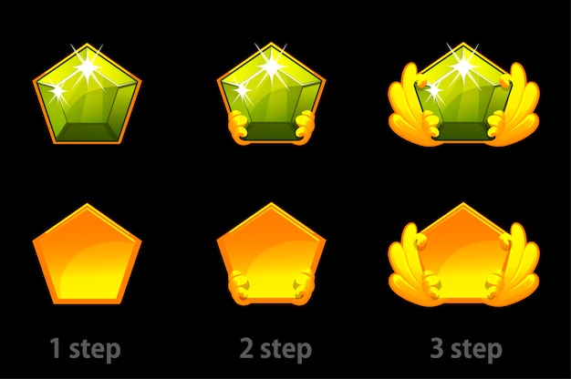 Set van stap voor stap verbetering van kostbare groene stenen.