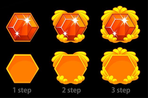 Set van stapsgewijze verbetering van het edelsteenpictogram en het gouden sjabloonframe voor het spel.