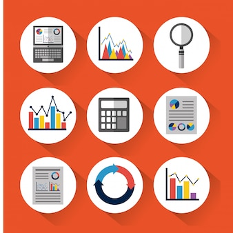 Set van statistische gegevenshulpmiddelen financiëndiagram en grafische grafiekzaken