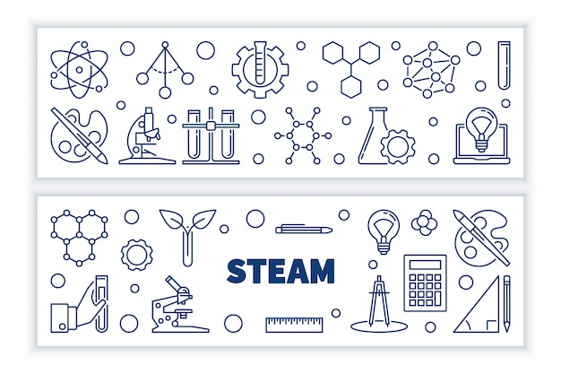 Set van steam concept overzicht horizontale banners