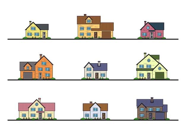 Set van stedelijke en voorstedelijke woonhuizen in cottage-stijl, dunne lijnpictogrammen.