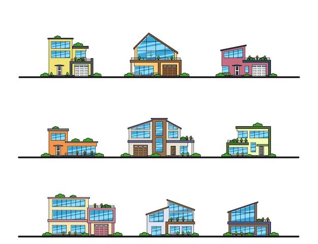 Set van stedelijke en voorstedelijke woonhuizen in moderne stijl, dunne lijnpictogrammen.