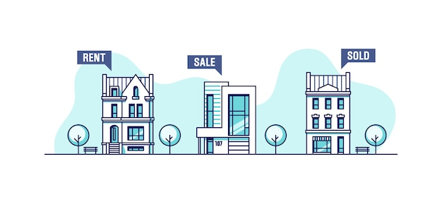 Set van stedelijke huizen onroerend goed bedrijfsconcept