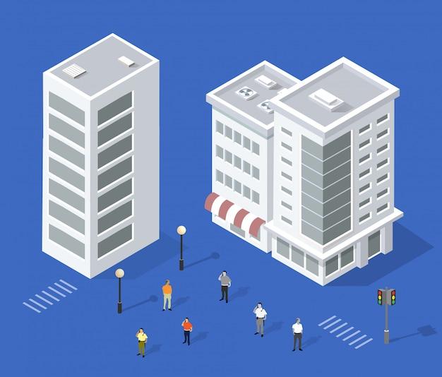 Set van stedelijke huizen