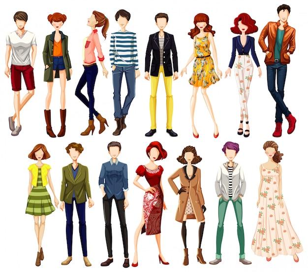 Set van stedelijke mensen karakter