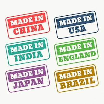 Set van stempels voor made in china usa india japan engeland en brazilië