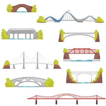 Set van stenen, bakstenen en metalen bruggen. bouwelementen van de stad. architectuurthema