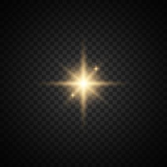 Set van ster met sparkles. geel licht. sprankelend stof.