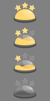 Set van sterren en bol gevulde vaten vloeistof.