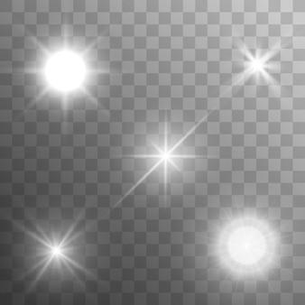 Set van sterren op een transparante witte en grijze achtergrond op een schaakbord.