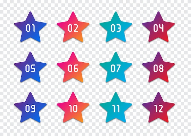 Set van sterrenummer opsommingsteken 1 tot 12