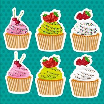Set van stickers cupcakes zaad kleur en chocolade chips