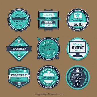 Set van stickers in blauwe tinten voor de dag van de leraar