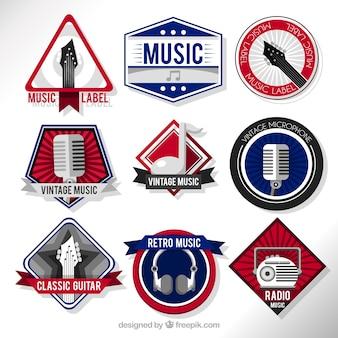 Set van stickers met muzikale elementen