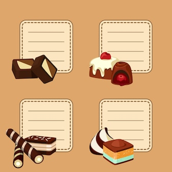 Set van stickers met plaats voor tekst met cartoon chocoladesuikergoed