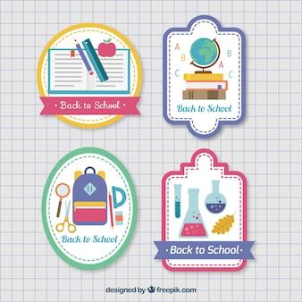 Set van stickers voor terug naar school in vlakke stijl