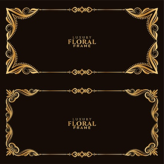 Set van stijlvolle gouden bloemen frame