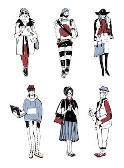 Set van stijlvolle mensen met gadgets op straat, schets modecollectie.