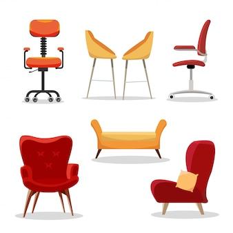 Set van stoelen. comfortabele meubelleunstoel en modern stoelontwerp in binnenlandse illustratie. zakelijke bureaustoelen of gemakkelijke stoelen geïsoleerd