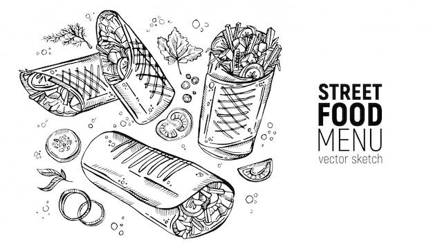 Set van straatvoedsel