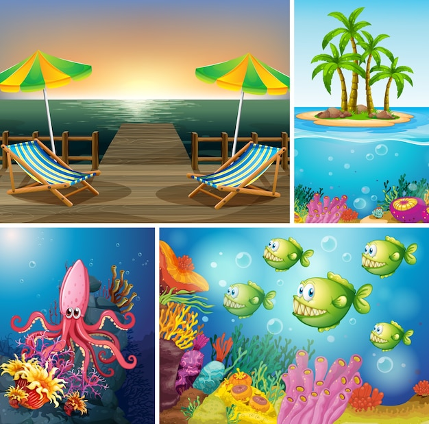Set van strand- en oceaanscène