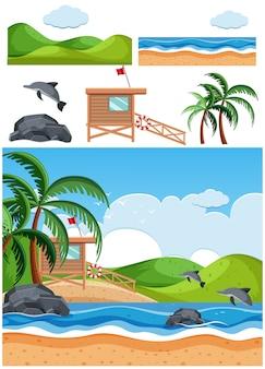 Set van strandtaferelen