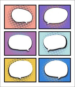 Set van stripboek, pop-art met lege tekstballon
