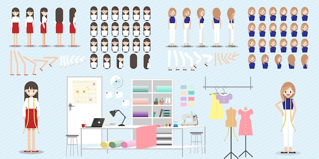 Set van stripfiguur met modeontwerper baan