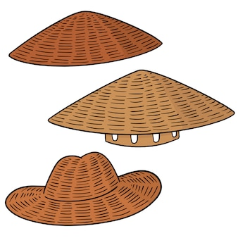 Set van strooien hoed