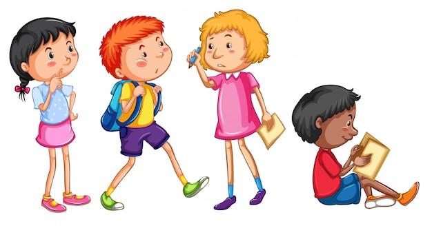 Set van student karakter