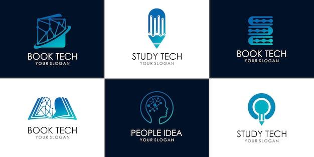 Set van studie tech, idee tech, boek tech. logo afbeeldingen illustratie ontwerp premium vector