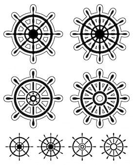 Set van stuurwielen van schepen