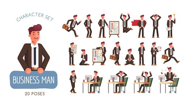 Set van succesvolle zakenman karakter poses en activiteiten ontwerp. illustratie
