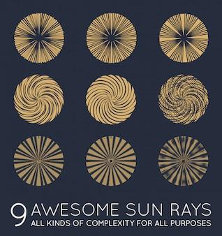 Set van sunburst vector stralen van de zon